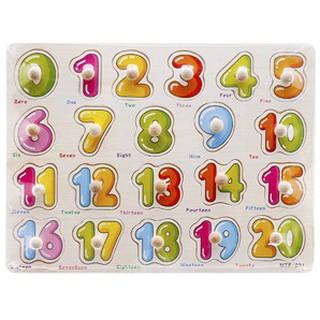 SIÊU RẺ_ Bảng chữ 20 số có núm cho bé (hàng nhập khẩu)