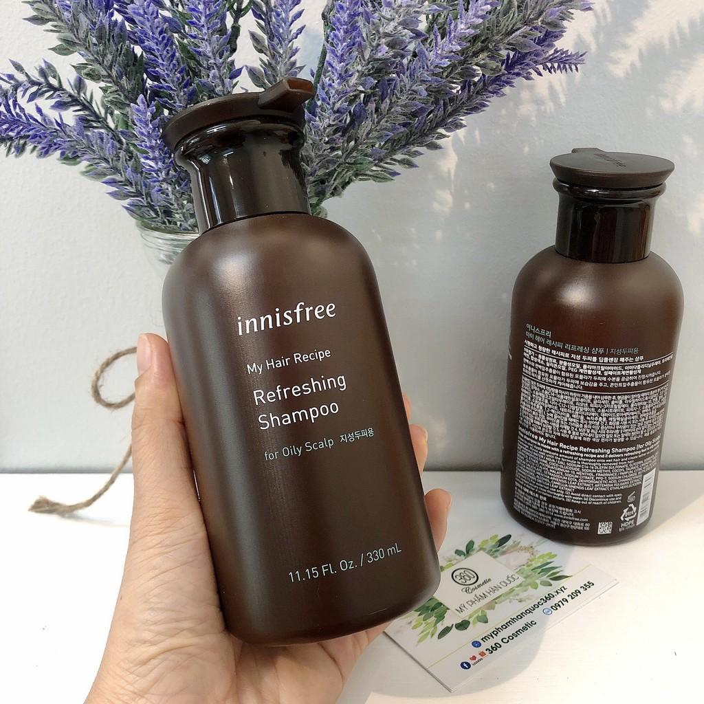 [mẫu mới] Dầu Gội Cho Da Đầu Nhờn, Tóc Nhờn – Innisfree My Hair Recipe Refreshing Shampoo For Oil Scalp 330ml