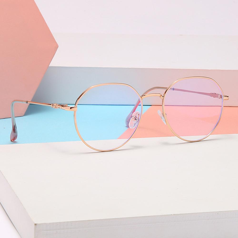 DIACHA Unisex Flat Mirror Eyewear High-definition Anti-UV Myopia Glasses Reduces Eye Strain Metal Round Frame Ultralight Blue Rays Radiation Eyeglasses/Multicolor