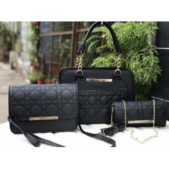 Bộ 3 túi xách nữ #bộ 3 túi xách nữ Dior màu đen