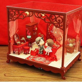 Kèm Mica và keo dán 30ml – Mô hình nhà gỗ búp bê Dollhouse DIY – J013 Động phòng hoa chúc