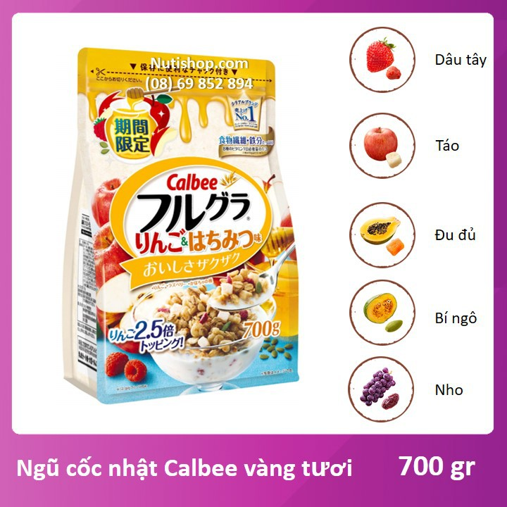 Ngũ cốc Vàng tươi Calbee Nhật bản 700 g Ngũ cốc Vàng tươi Calbee Nhật bản 700 g