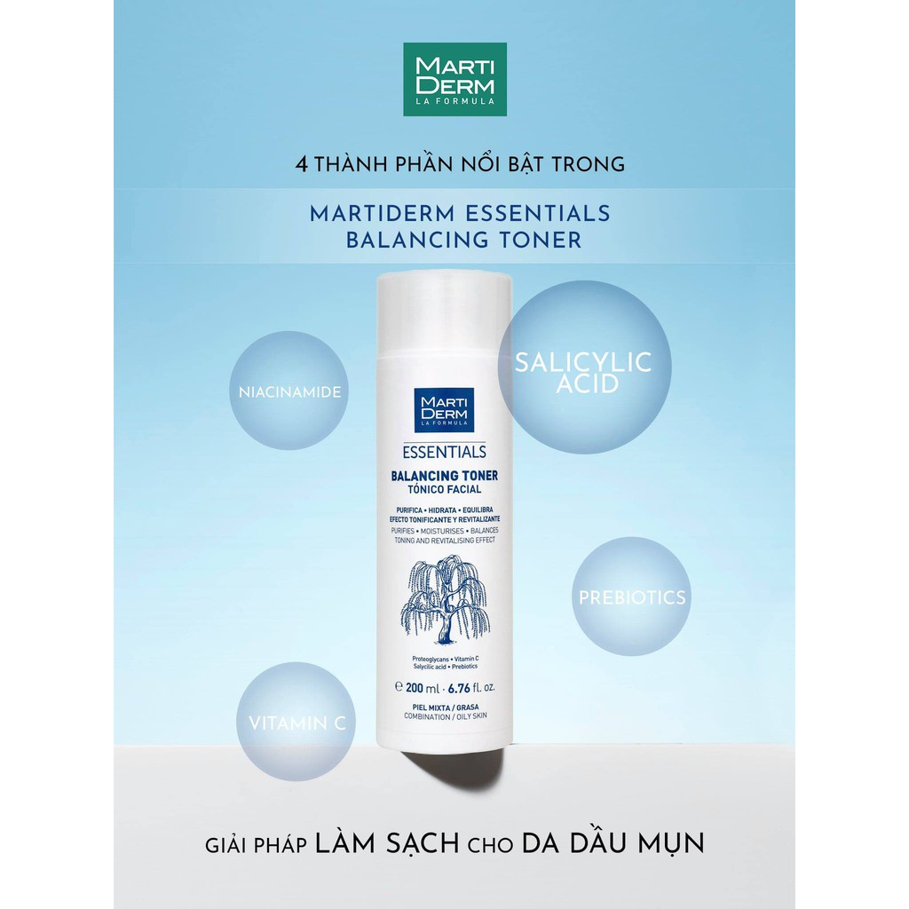 AUTH) MartiDerm Essentials Balancing Toner -- Nước Cân Bằng Làm Sạch Chứa  BHA & Prebiotics (200ml) | Shopee Việt Nam
