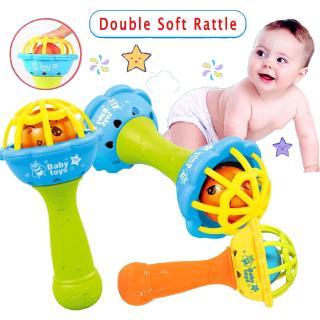 Bayi Kepala Ganda Dumbbell Ball RattleTeether Penghibur Bayi Rattle BPA Pendidikan Awal Mainan