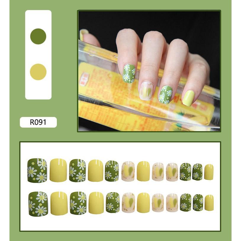 Bộ 24 móng tay giả kèm 2g keo dán nghệ thuật 3D R091-R110