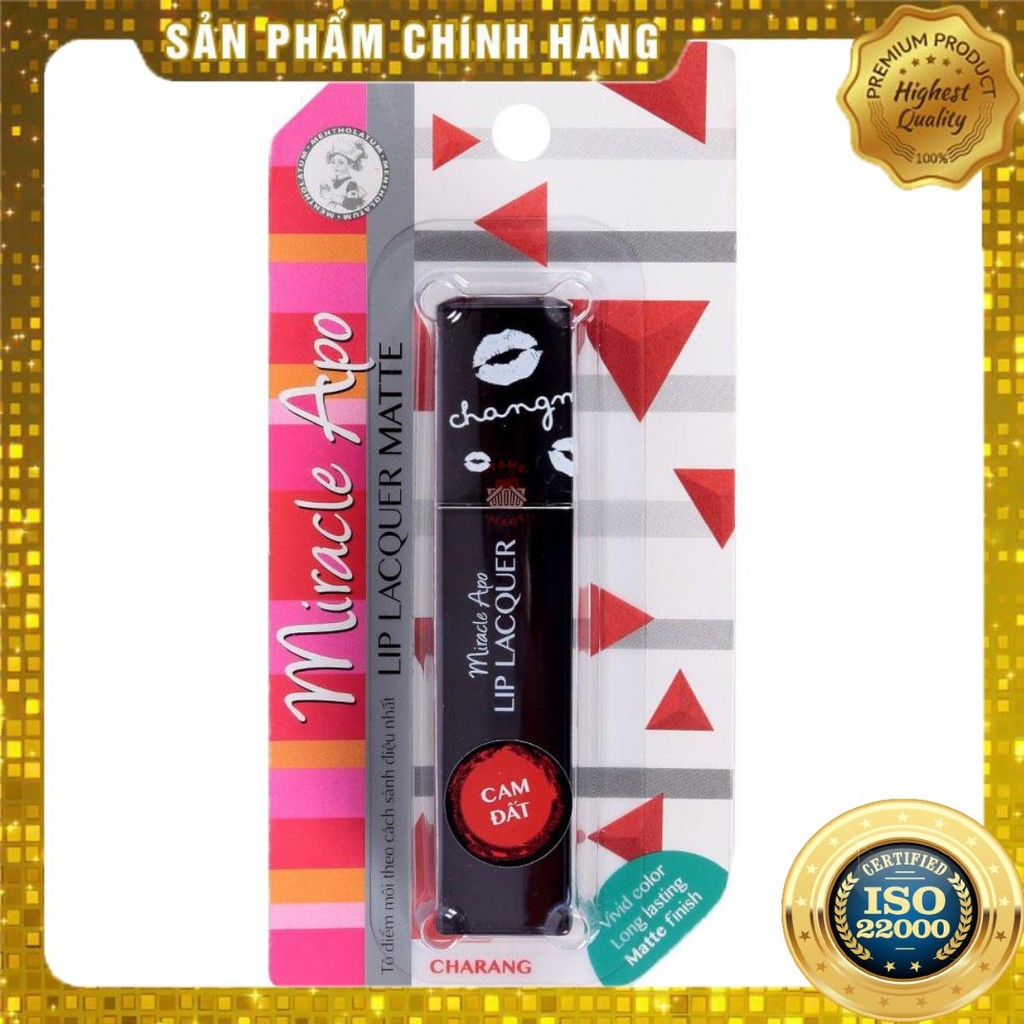 [ Yams Mart ] Son Miracle Apo Lip Lacquer Matte 3ML_Cam Đất- thumbnail