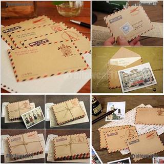 AYellowcat 10 Sheets Mini Envelope Postcard Letter Stationary Storage Paper Vintage