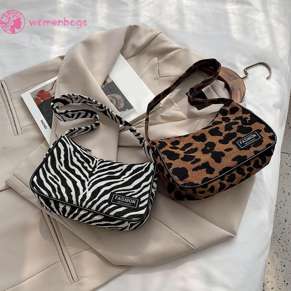 Túi xách tote đeo vai in hình da báo/ ngựa vằn phong cách retro