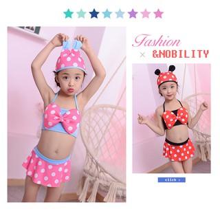 [Set 3 Món] Đồ Bơi Bikini bé gái Hai Mảnh Kèm Nón Tai Chuột Micky, Chấm Bi đỏ, Hồng , Anna store
