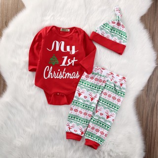 Set quần áo kèm nón giáng sinh dễ thương cho bé