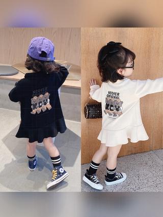 Đầm polo cotton tay dài thời trang mùa thu cho bé gái