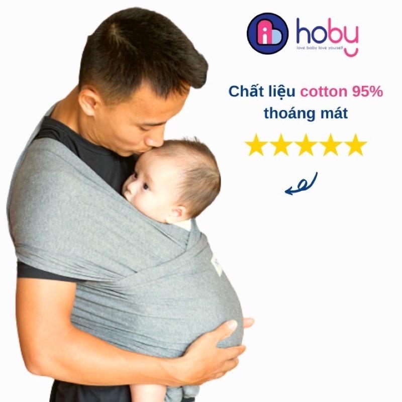 [Chính Hãng] Địu vải cho trẻ sơ sinh Hoby Wrap - Địu em bé sling bằng vải cotton, không gây kích ứng, chịu lực 3-14kg