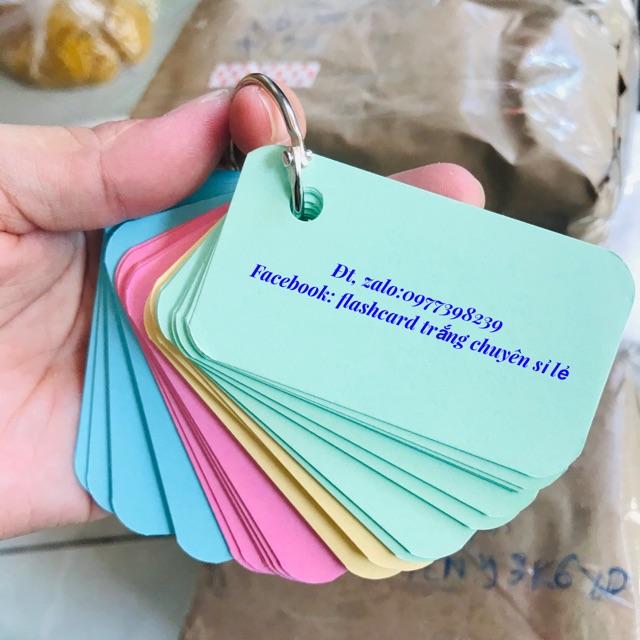 Combo 100 thẻ flashcard mix 4 màu học ngoại ngữ anh nhật hàn đức pháp như hình