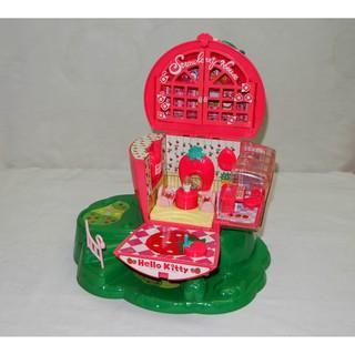 95% Nhà búp bê dâu Strawberry House Hello Kitty có đèn chớp (Nhật)