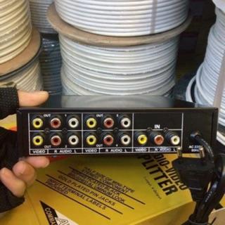 Bộ chia (hộp chia) tín hiệu AV 1 cổng vào 4 cổng ra cắm điện. báo giá 1 cái