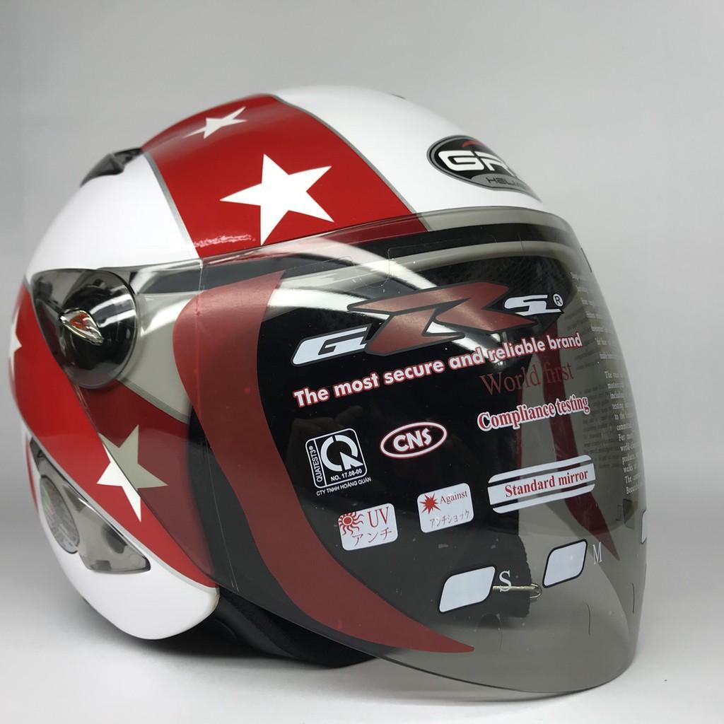 Mũ bảo hiểm GRS A27K trắng tem đỏ