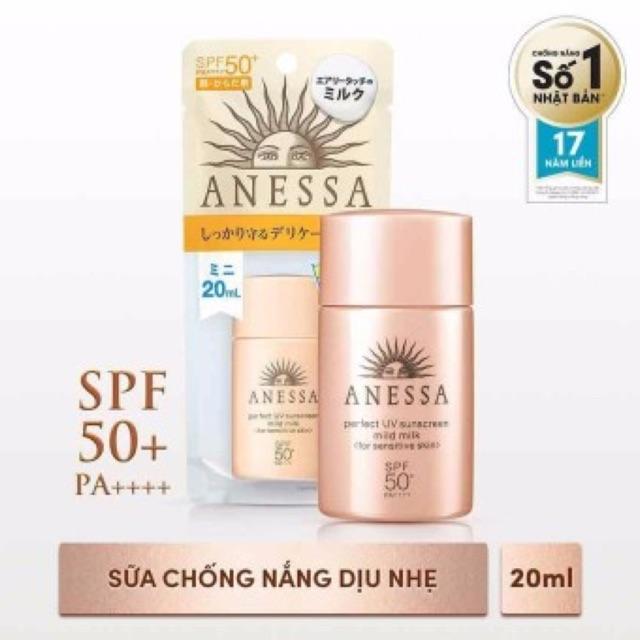 Sữa chống nắng dịu nhẹ cho da nhạy cảm Anessa Perfect UV Sunscreen Mild Milk - SPF50+, PA++++; 20ml