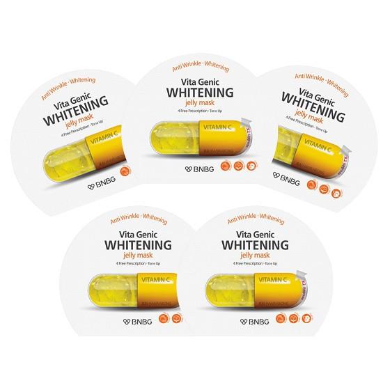 Bộ 5 gói Mặt nạ giấy dưỡng da trắng sáng và làm đều màu da Banobagi Vita Genic Whitening Jelly Mask