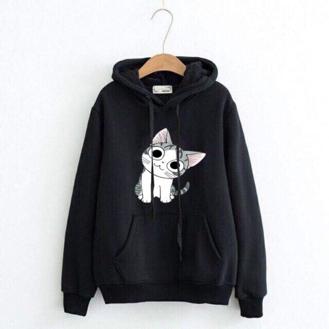 Áo hoodie nam nữ mèo nghiêng đầu có bigsize đen hơn 100kg