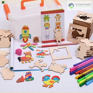 Bộ đồ chơi khuôn gỗ vẽ và tô màu cho bé Hàng Mới Về