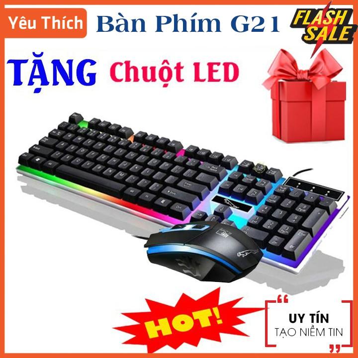 Tặng Kèm Chuột LED - Bàn Phím Giả Cơ GAMING G21 104 Phím Led Gõ Nhạy , Bàn phím máy tính gaming mini