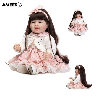 🔅🔆AMEESI 45cm Smiley Vinyl Reborn Baby Doll Lifelike Accompany Toy