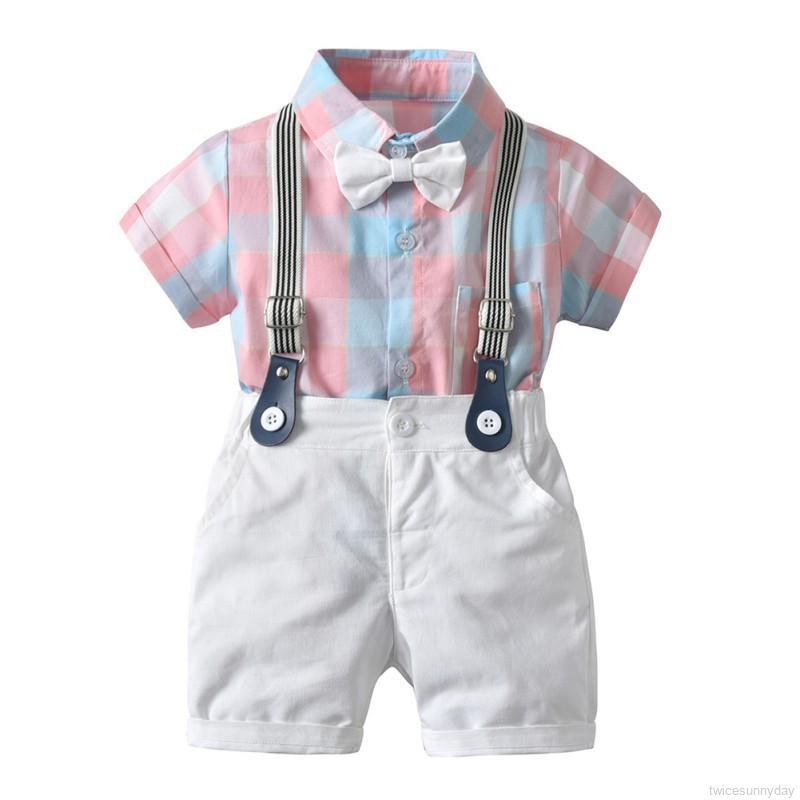 Set áo sơ mi caro + quần short + dây nơ đeo cổ dễ thương cho bé trai