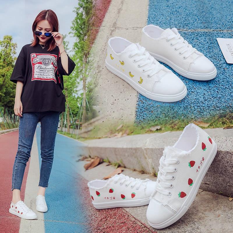 shopee คัดสรรรองเท้าผ้าใบจดหมาย 2019 ใหม่ในฤดูใบไม้ร่วงนักเรียนน่ารักระบายอากาศ
