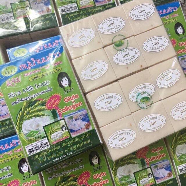 Xà Phòng Kích Trắng Cám Gạo Thái Lan Jam Rice Milk Soap mẫu mới nhất ( vuông)