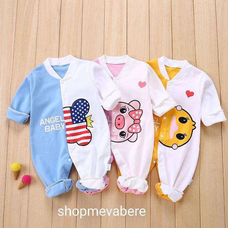 Body liền thân dài tay cotton cho bé sơ sinh, hàng đẹp xuất Hàn