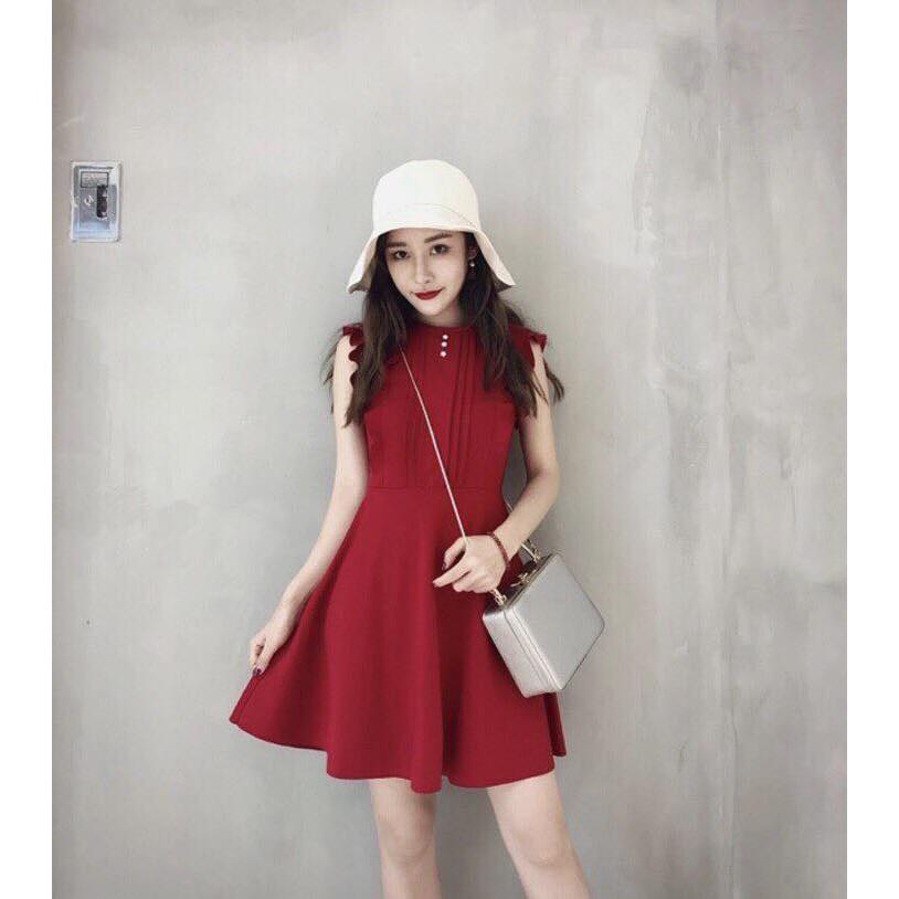 Đầm Xòe Đỏ Tươi Tay Phối Bèo Xinh Xinh
