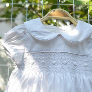 Váy smock Her corner trắng thêu hoa trắng