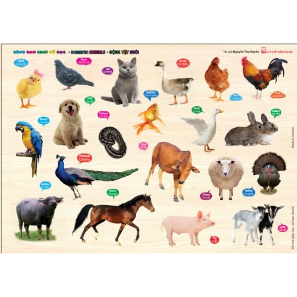 Bảng Gỗ Cùng Con Chơi Và Học - Động vật nuôi
