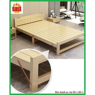 Giường ngủ – Giường ngủ gỗ thông gấp gọn, kích thước 120x195cm, tặng kèm đệm, gối