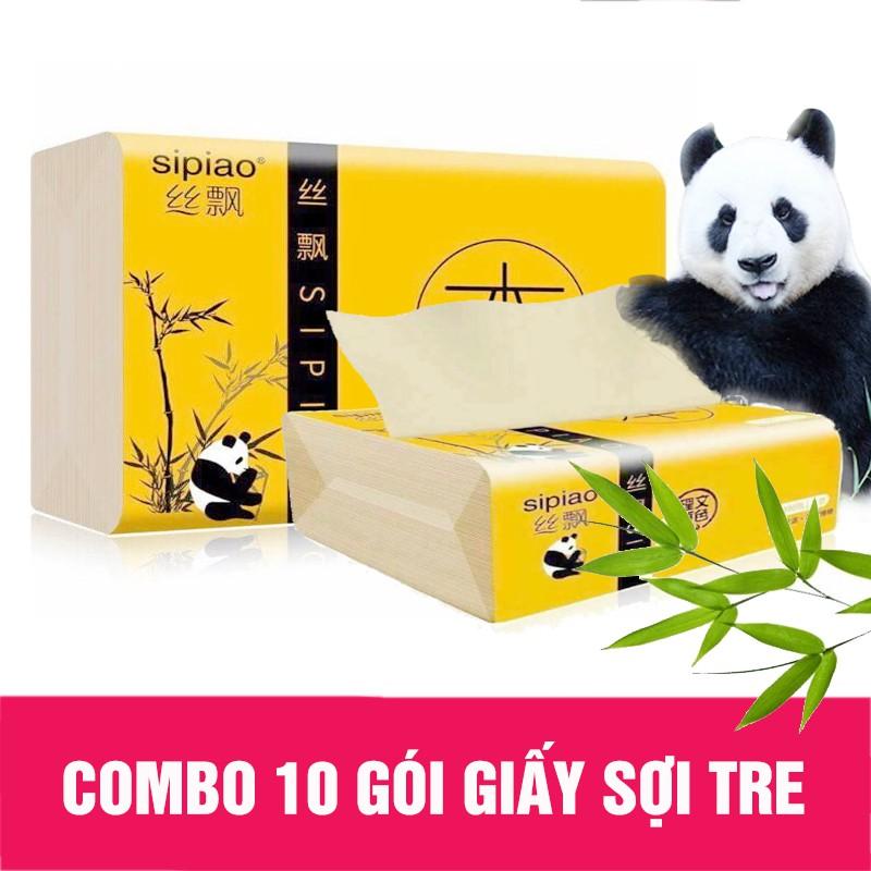 Combo 10 gói giấy ăn sợi tre gấu trúc