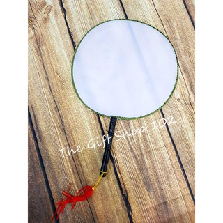 Quạt cổ trang vải tròn Trơn ( vẽ, sơn, tô màu tùy ý)