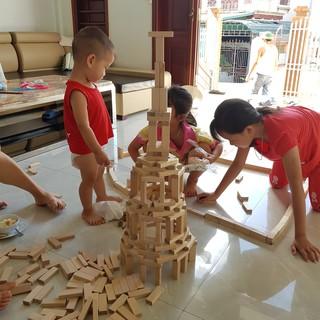 [Giá sỉ] Bộ Gỗ xếp hình đồ chơi cỡ lớn giúp trẻ tránh xa điện thoại. (Rút gỗ + xếp hình + Domino), 1Kg 55 thanh