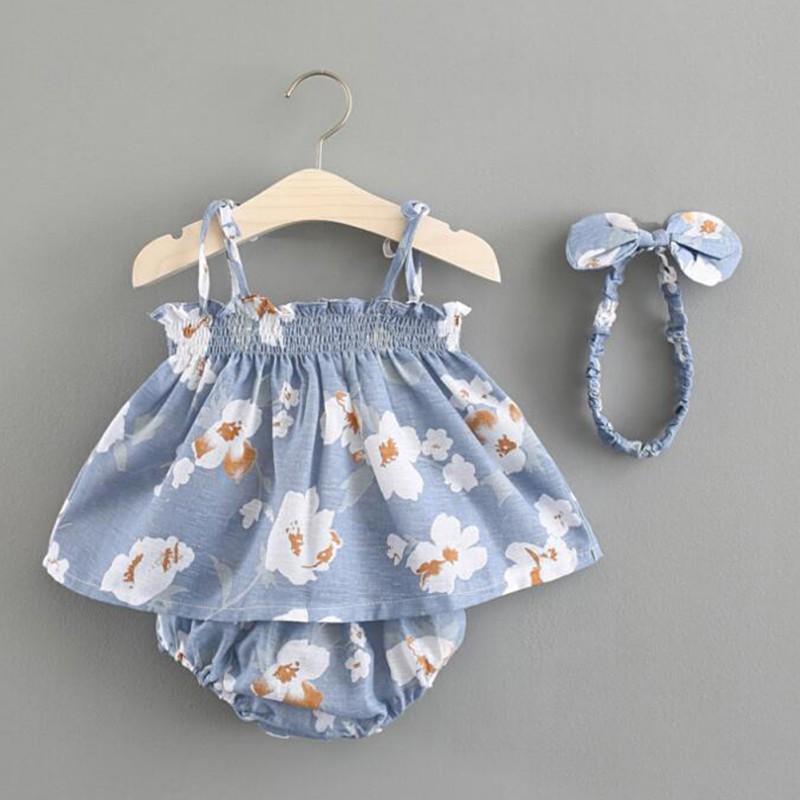 Set áo 2 dây + quần short kèm băng đô in hoa xinh xắn cho bé gái