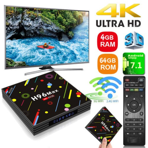 Thiết bị chuyển đổi TV thường thành smart TV akaso 4G 64G H96 Max TV Box Android 7.1 RK3328 IPTV Box Android