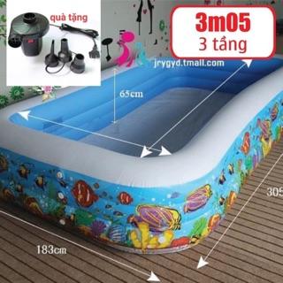 Bể bơi 3m05 3 tầng tặng kèm bơm điện bơm bể