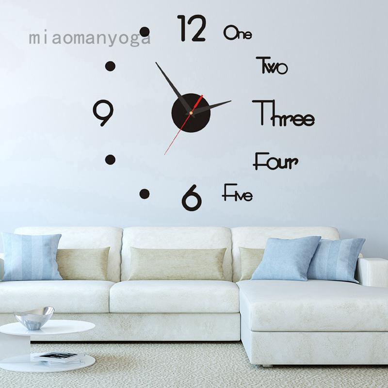 Đồng hồ treo tường 3D loại lớn bằng acrylic dành cho trang trí nhà cửa