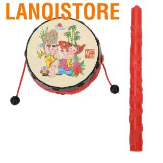 Lanqistore Chinese Traditional Rattle Drums Classic Cartoon Baby Toys Educational Musical Instrument