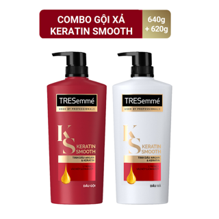 Hình ảnh Combo gội 640g + xả 620g TRESemmé Keratin Smooth Tinh dầu Argan và Keratin vào nếp suôn mượt-0