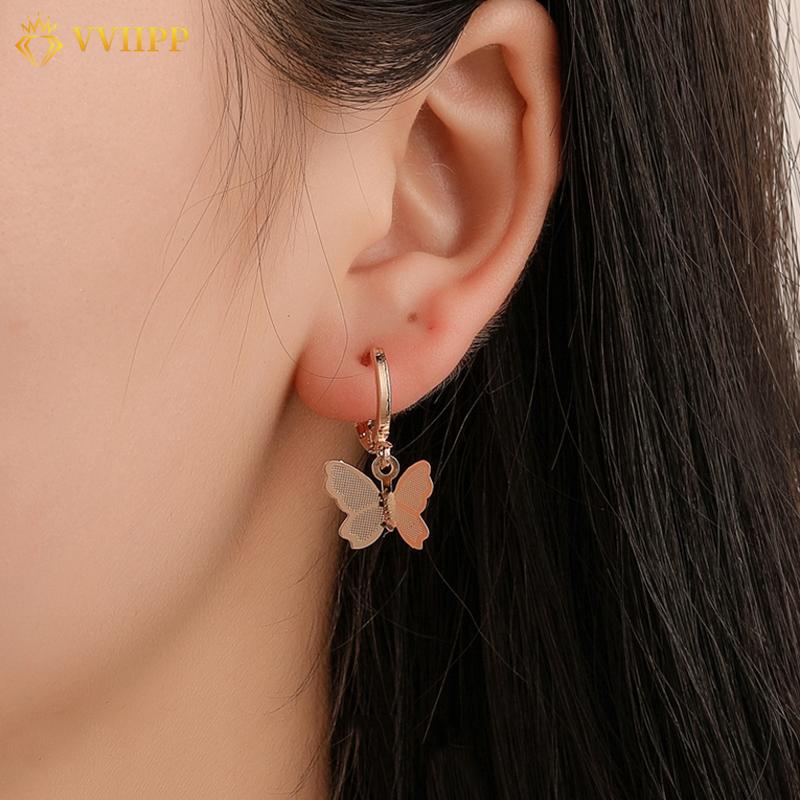 Bông tai thiết kế hình chú bướm màu vàng kim phong cách retro Hàn Quốc cho nữ