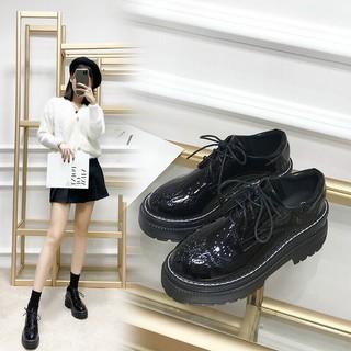 Giày da cột dây thời trang hàng cao cấp,giày nữ độn đế 3P mã ML30 - Lion