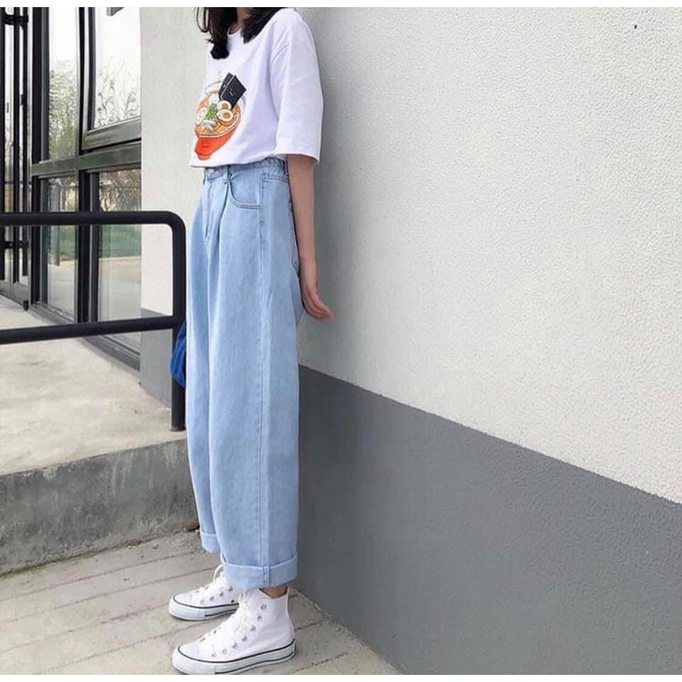Quần jean simple pant ống rộng
