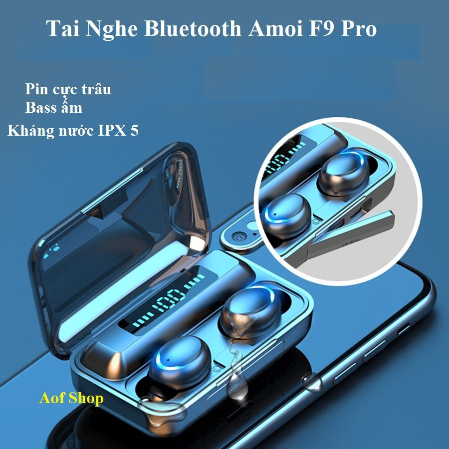 Tai nghe True Wireless AMOI F9 Bluetooth 5.0, pin trâu, Bass ấm