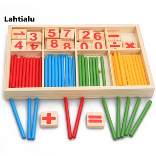 Lahtialu Pre-School Wooden Mathematical Intelligence Stick Early Learning Counting Toy