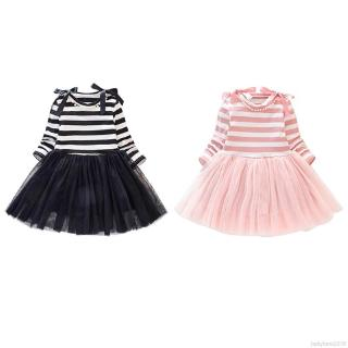 Đầm tay dài họa tiết sọc phối lưới thời trang mùa thu cho bé