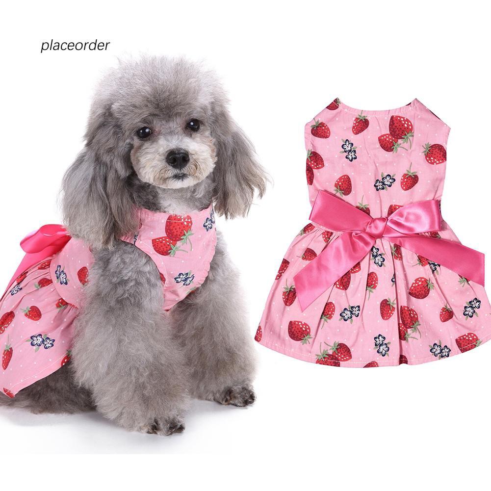 PEOD_Pet Puppy Cat Dog Clothes Cute Sweet Strawberry Ribbon Bowknot Decor Dress
